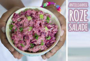 Antilliaanse roze salade huzarensalade rode biet Surinaamse huzarensalade roze bietensalade recept jurino