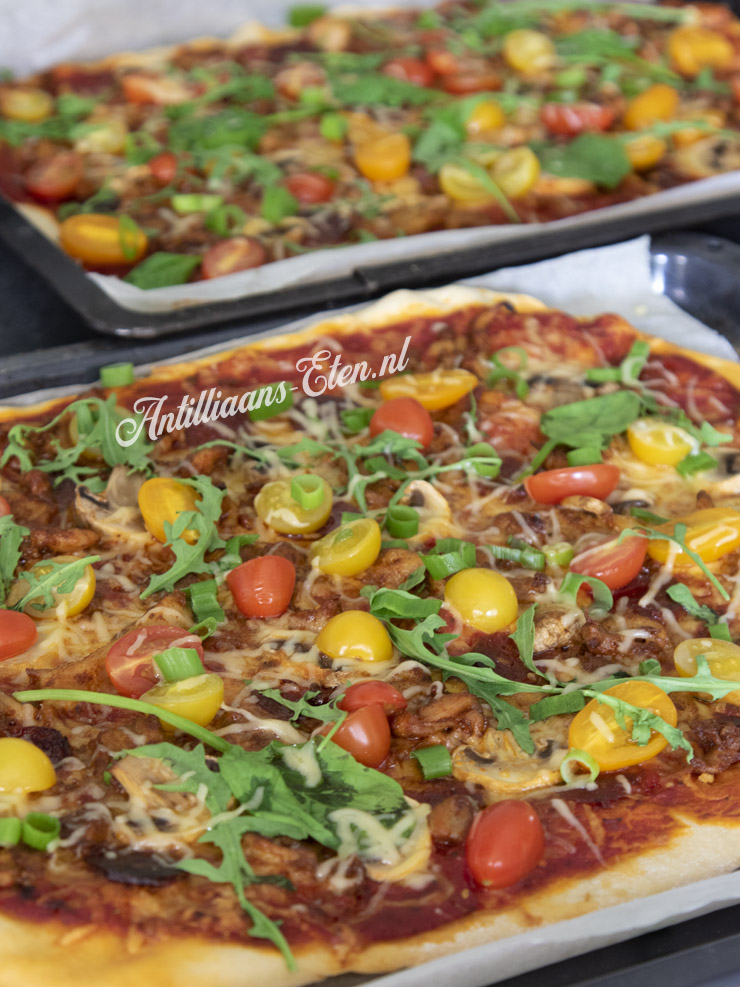 jerk chicken pizza Caribische pizza recept pizzadeeg pizzabodem maken